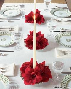 Amaryllis Candle Centerpiece -  Martha Stewart