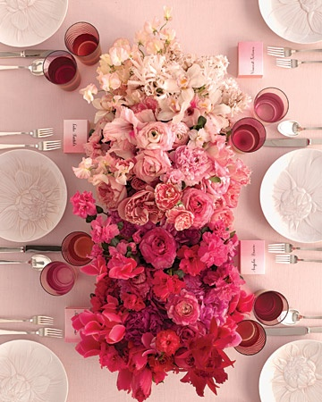 Ombre rose centerpiece - Martha Stewart