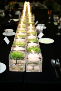 beautiful alternating candle and flower centerpiece arrangement
