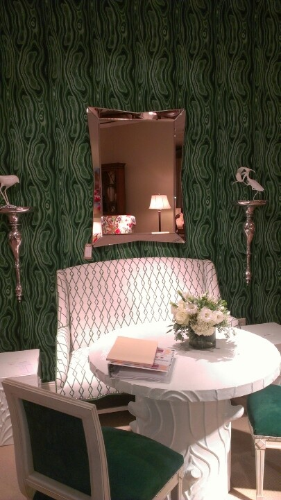 "Fab Wall paper and chairs in velvet green ""emerald' Blog White Linen Interiors Miami"