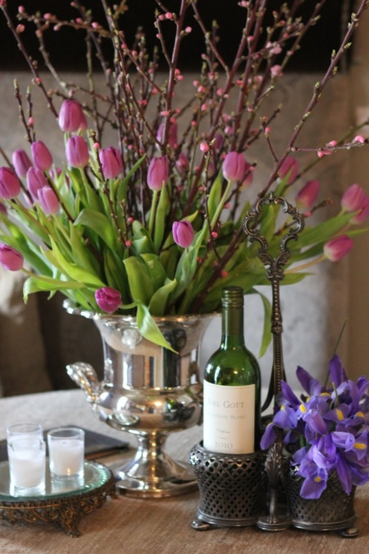 Pink Tulips & Ice bucket ~tabletop centerpiece.