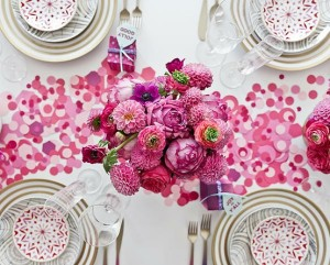 Pink flowers + confetti tabletop decor