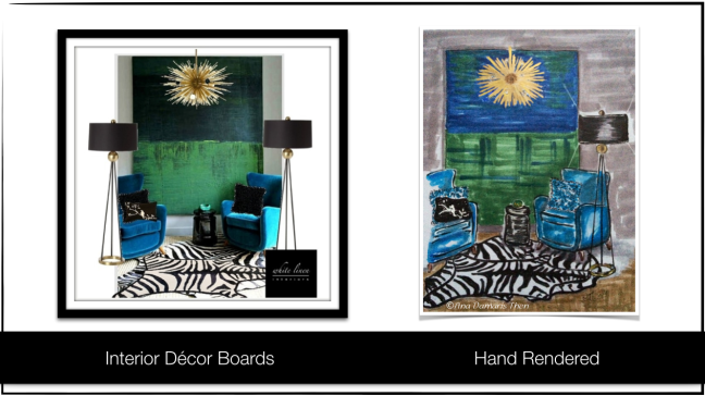 Turquoise, green, and black design board rendered