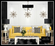 yellow contemporary sofa and black chandelier