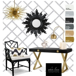Home Office decorating ideas for women in gold, black, white.