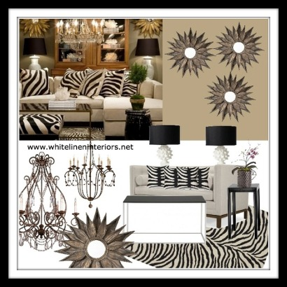 Transitional Style Neutral Living Room, Golden or bronze with animal prints.
