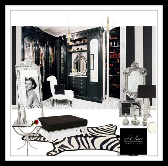 Hollywood Glam Regency Style Dressing Room