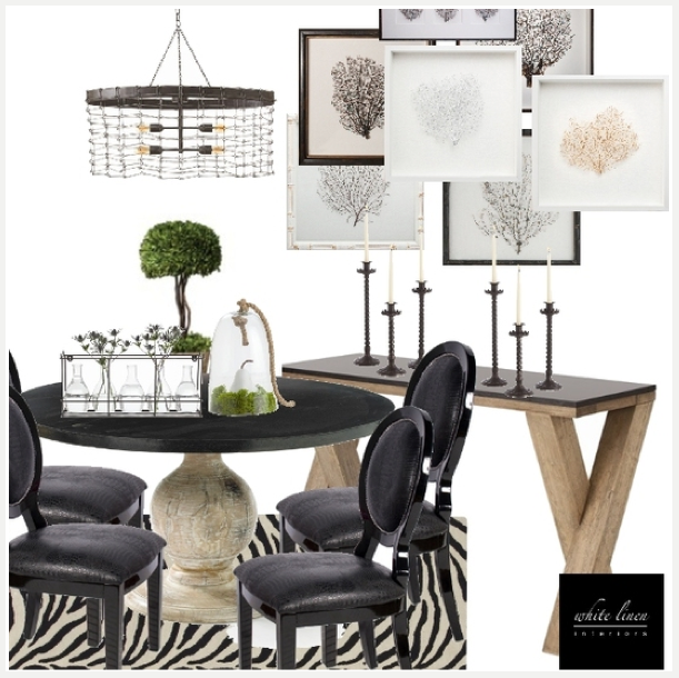 Rustic Modern Meets Regency Dining Room Design Board |Blog White Linen Interiors Miami