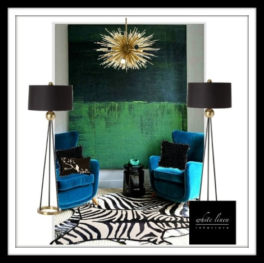 Vintage Modern with bold colors, gold accents a touch of animal print.
