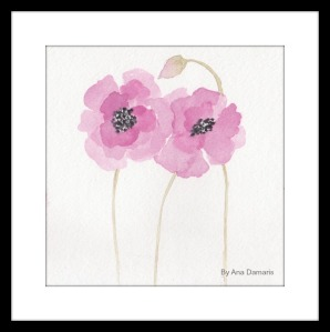 PINK  POPPIES WATERCOLOR  ART BY ANA DAMARIS T