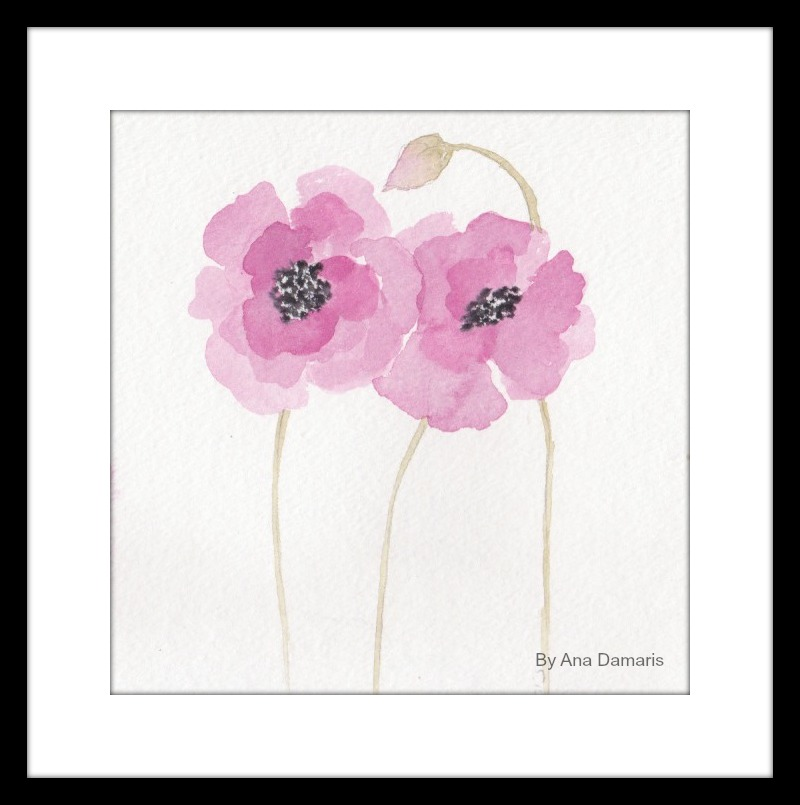 FRAMED FLOWERS IN PINK