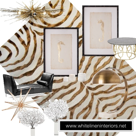 Gold black and white design board