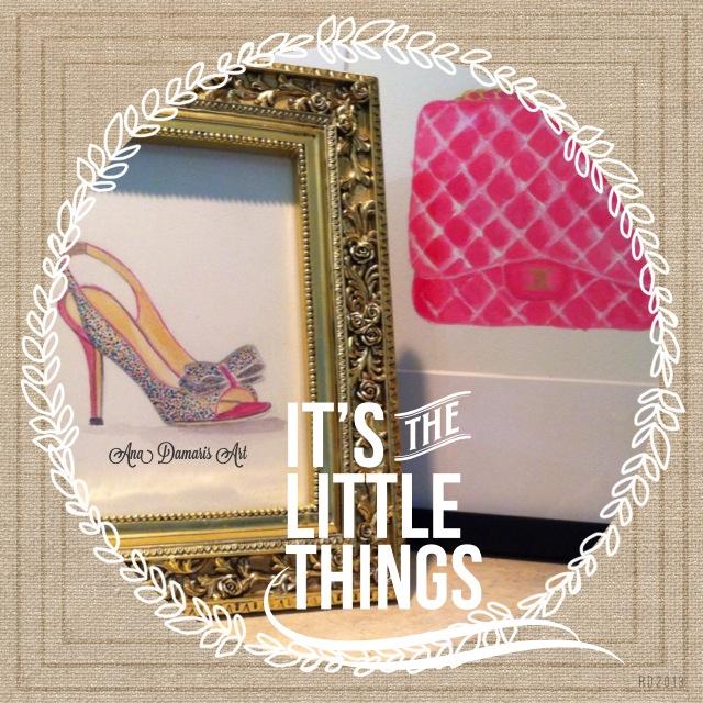 framed glitter shoe and coach purch