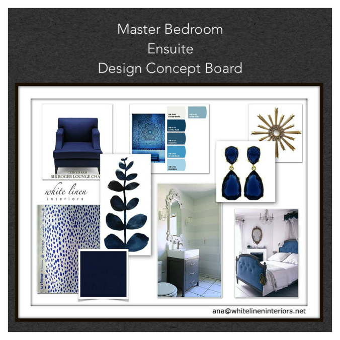 Blue Bedroom En-Suite Interior Design Concept Board
