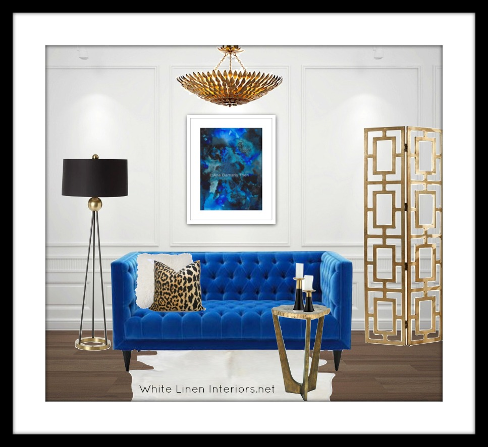 Apartment Living Blue Art Interior Design Board White Linen Interiors