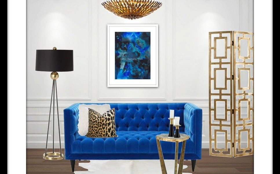 Apartment Living Blue Art Interior Design Board